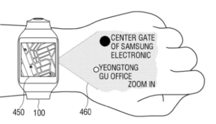 Патент умных часов с проектором Samsung