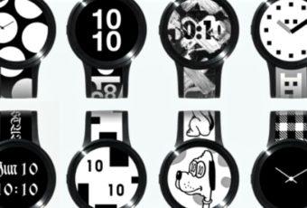 Уникальные смартчасы Sony FES Watch U с экраном на циферблате и ремешке.
