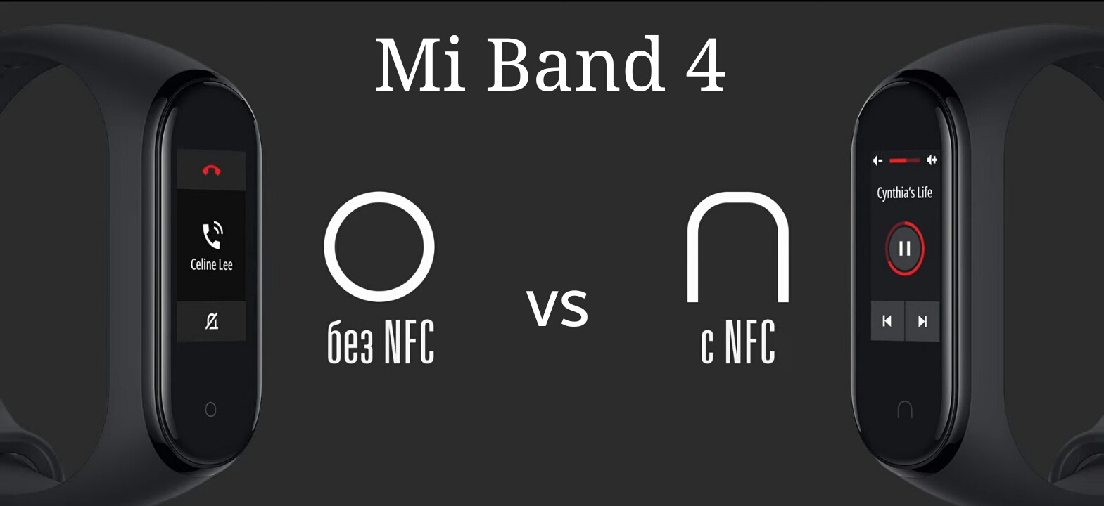 Отличие кнопок Mi Band 4